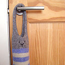 knitted bunny bag on door
