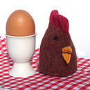 knitted chicken egg cosy brown