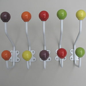Individual Coloured Ceramic Coat Hooks - hooks, pegs & clips