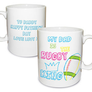 Personalised Sporty Father's Day Rugby Mug