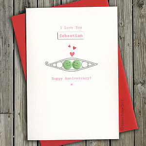 Personalised Anniversary Or I Love You Card: Peas