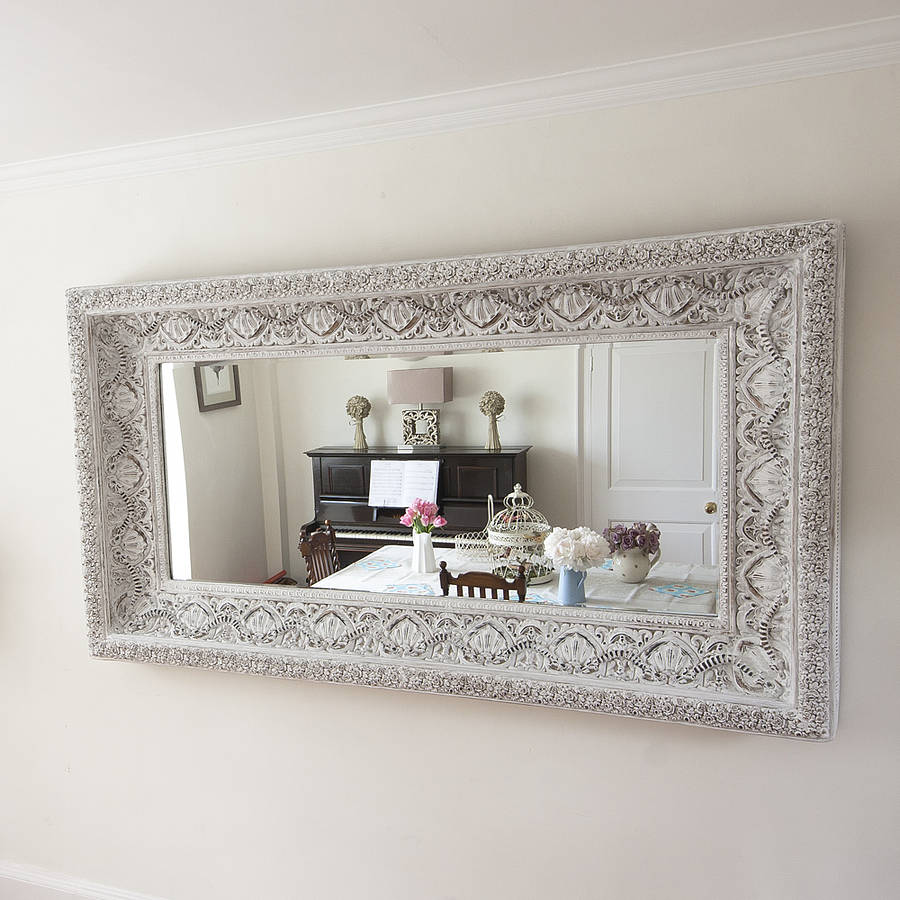 Carved white 39 shabby chic 39 mirror by decorative mirrors for Large white decorative mirror