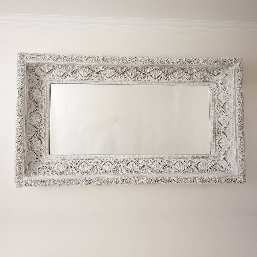 Carved white 39 shabby chic 39 mirror by decorative mirrors for Fancy white mirror