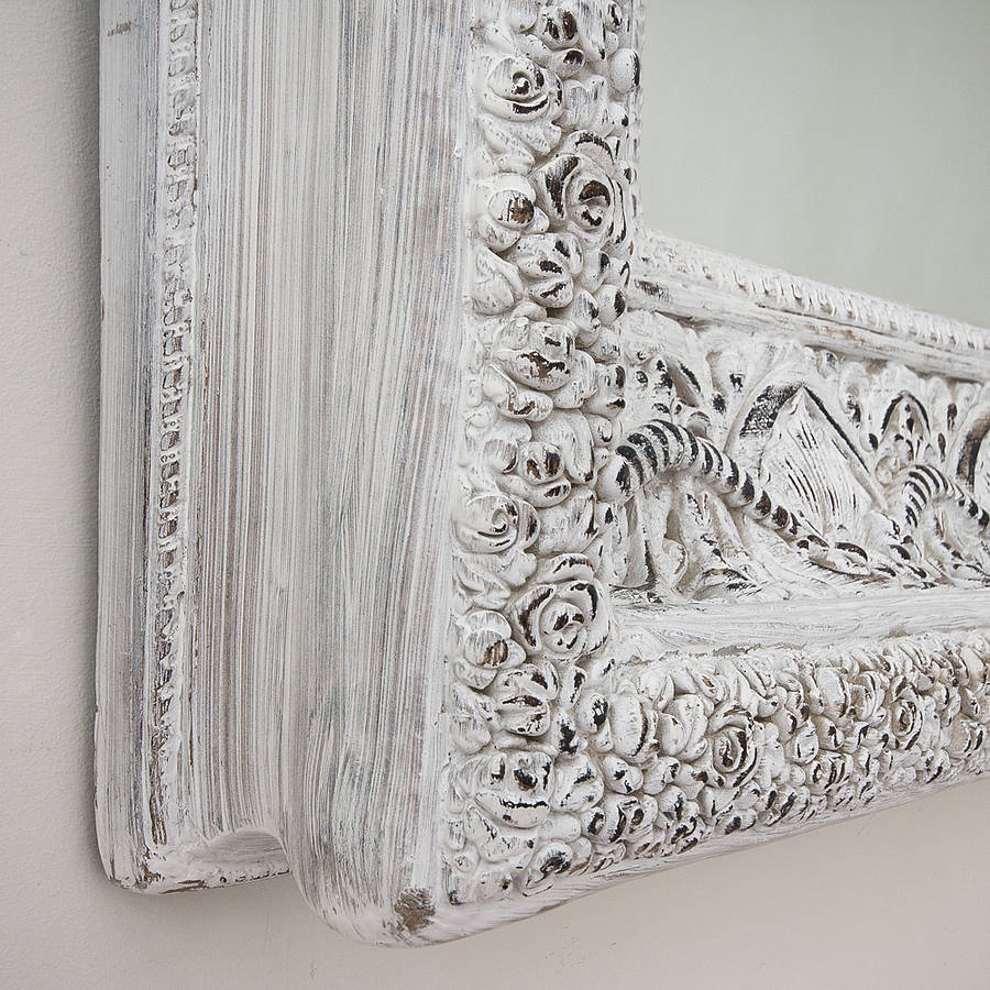 carved white 39 shabby chic 39 mirror by decorative mirrors online. Black Bedroom Furniture Sets. Home Design Ideas