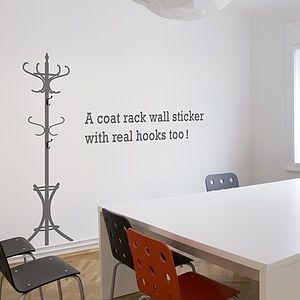 Coat Stand Wall Sticker With Hooks - wall stickers