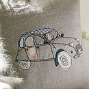 French Two Cv Car Embroidered Cushion