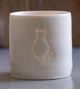 Porcelain Cat Tea Light - for dog lovers and cat lovers
