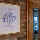 Christening Tree print with Baby Blue and Royal Blue Inks