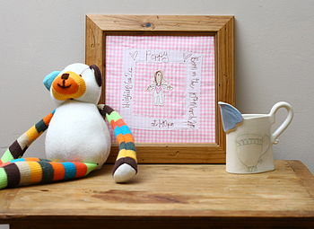 Personalised New Baby Embroidered Artwork