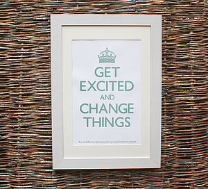 'Get Excited' Letterpress Print
