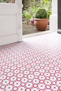 Rose Des Vents Red Vinyl Floor Tiles - ornaments