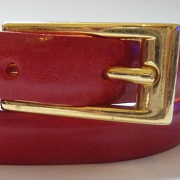Red Skinny Leather Belt For Hip Or Waist