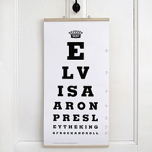 Elvis Presley Eye Test Chart - music-lover