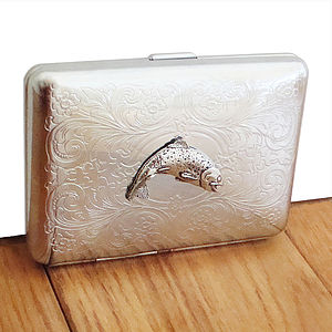 Wild Trout Cigarette Case Or Silver Card Case - wallets