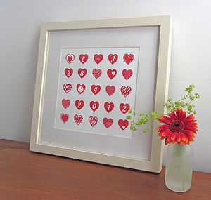 'Many Hearts' Personalised Wedding Date Print - wedding gifts