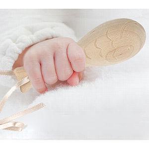 Birch Wood And Dried Seed Baby Fish Rattle