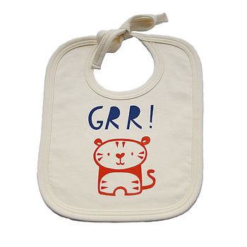 'Grr' Tiger Organic Cotton Baby Bib