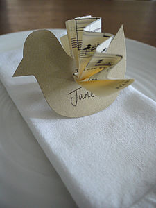 Vintage Bird Wedding Place Name - place card holders