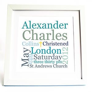 Christening Or Baptism Print: Pink Or Blue - christening gifts