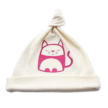 Contented Cat Organic Cotton Baby Hat