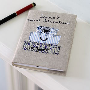 Personalised Travel Notebook Floral And Stripes - frequent traveller
