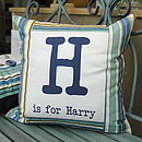 Personalised Boy's Initial And Name Blue Stripe Cushion