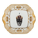Skull In Crown Gold Cake Plate