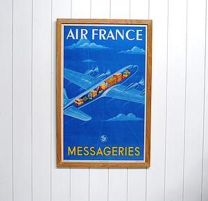 Framed Original Air France Travel Poster - home accessories