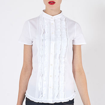 Thea Short Sleeve Frill Front Shirt