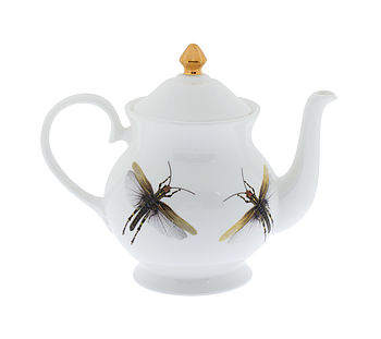 Dragonflies And Gold Teapot
