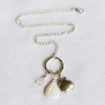 Silver Shell & Gemstone Necklace