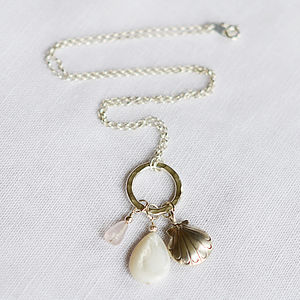Silver Shell & Gemstone Necklace - necklaces & pendants
