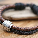 Personalised Mens Metro Brown Scroll Tie Bracelet