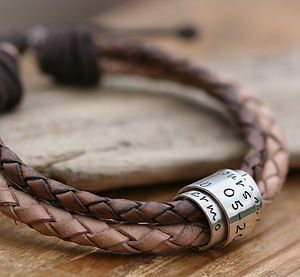 Nude Personalised Leather Scroll Tie Bracelet - men's jewellery