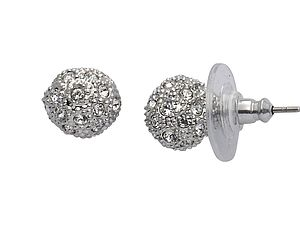 Crystal Round Stud Earrings - earrings