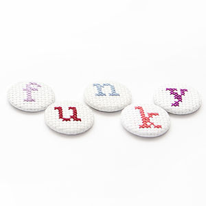Cross Stitch Initial Letter Pin Badge - women's jewellery