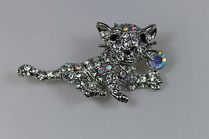 Diamante Cat Pin Brooch - pins & brooches