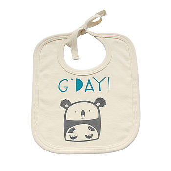 'G'day' Koala Organic Cotton Bib