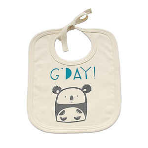 'G'day' Koala Organic Cotton Bib - baby care