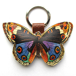 Leather Butterfly Key Ring