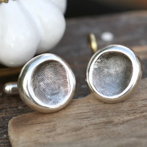 Personalised Silver Nugget Fingerprint Cufflinks - gifts for him