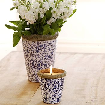 St Eval Floral Pot Candle And Vase Set