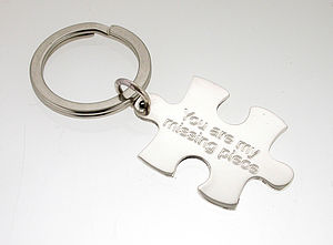 Personalised Silver Jigsaw Keyring - keyrings