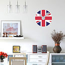 Union Jack Clock Wall Sticker With Mechanism