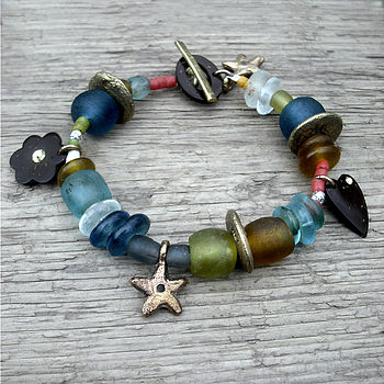 Jumblie Recycled Glass And Charm Bracelet