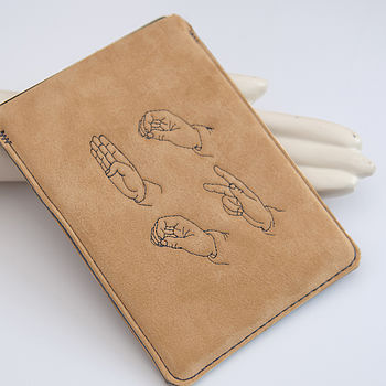 Suede Kindle Case Sign Language Motif