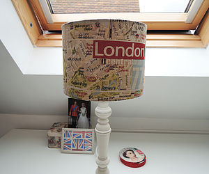 Handmade London Map Fabric Lampshade