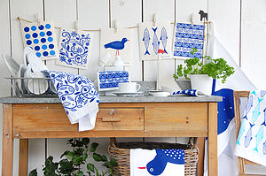 Set Of Blue Dish Cloths - kitchen linen
