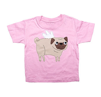 Girl's Angel Pug T Shirt