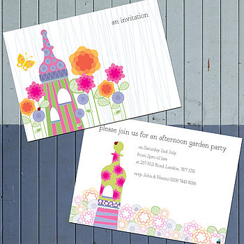 Pack Of Ten Personalised Pavilion Invites